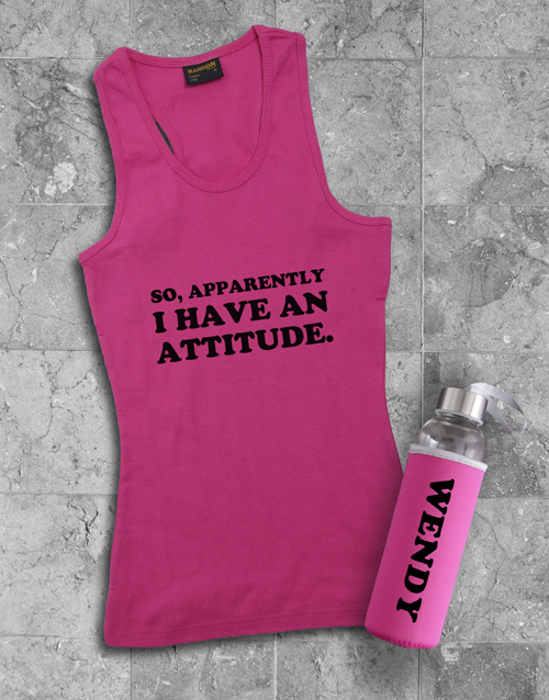 activewear: Personalised Attitude Racerback and Water Bottle!