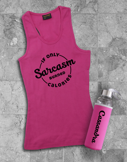 clothing: Personalised Sarcasm Racerback and Water Bottle!
