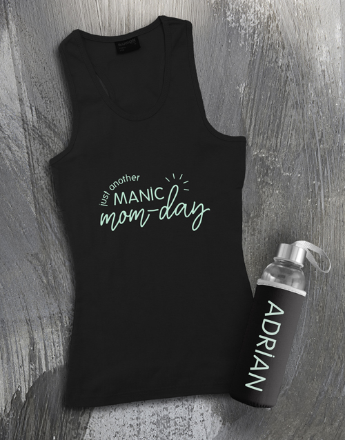clothing: Personalised Manic Mom Day Racerback and Bottle!