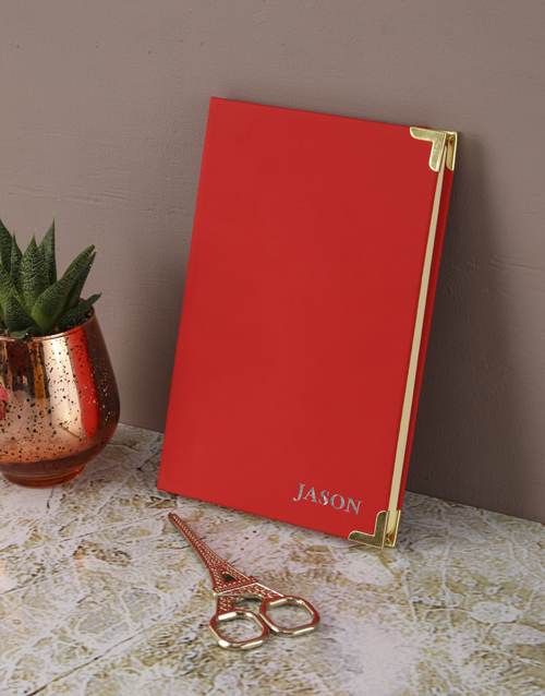 christmas: Personalised Gold Embossed Red Notebook Gift!