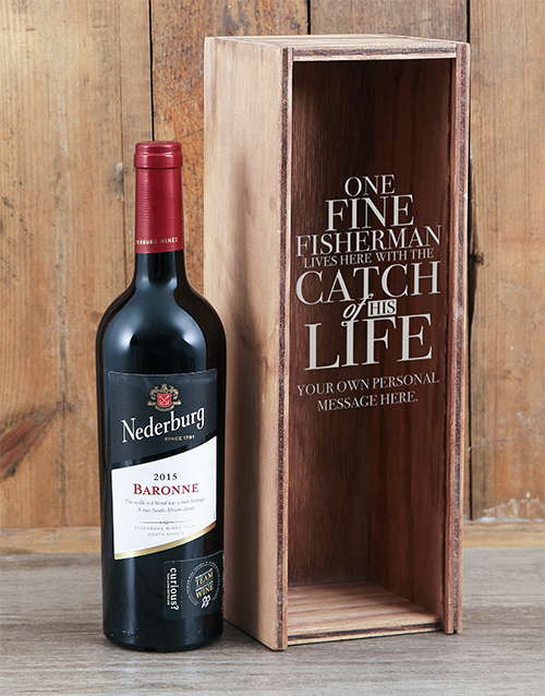 fine-alcohol: Personalised Catch Of His Life Wine Crate!