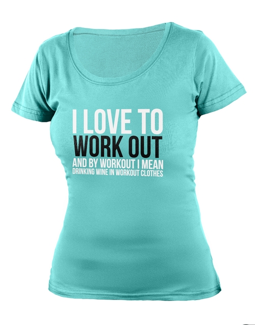 cyber-monday: Personalised Aqua Love To Work Out Ladies T Shirt!