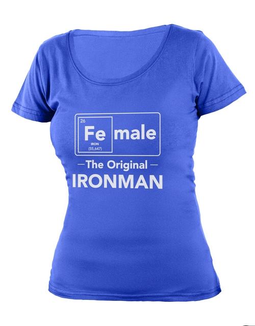clothing: Personalised Blue Ironman Ladies T Shirt!