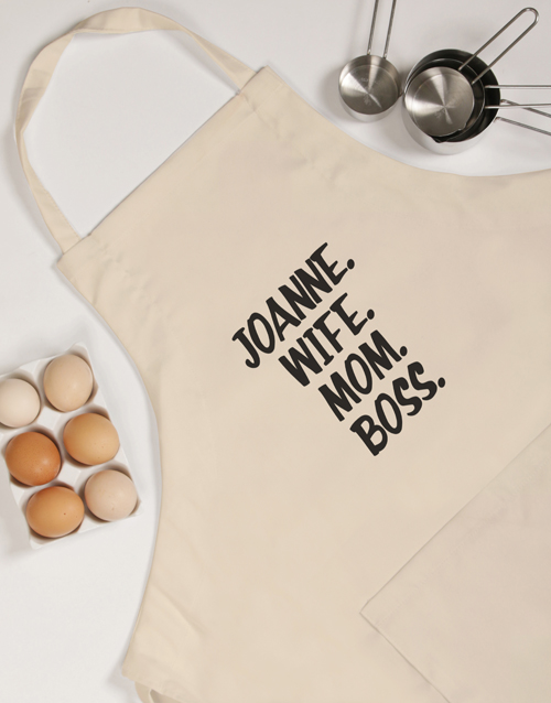 mothers-day: Personalised Wife Mom Boss Apron!