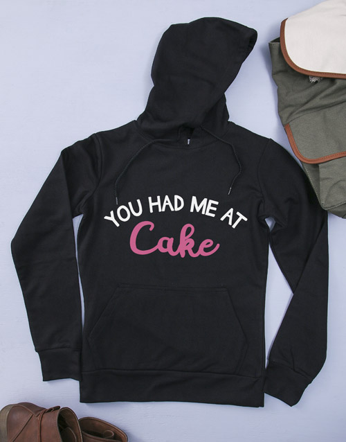 personalised: Personalised Black You Had Me At Cake Hoodie!