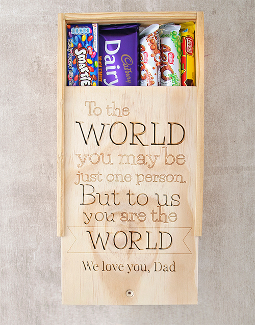 chocolate: Personalised Choc Crate You Are The World!