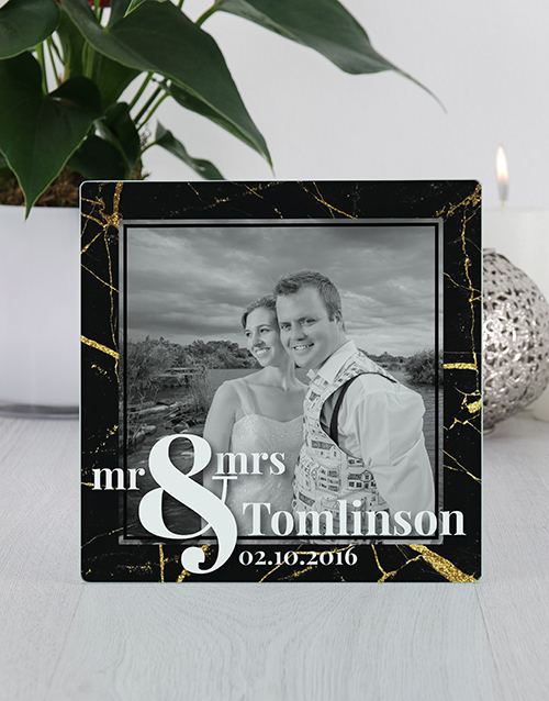 engagement: Personalised Mr and Mrs Glass Tile Photo Frame!