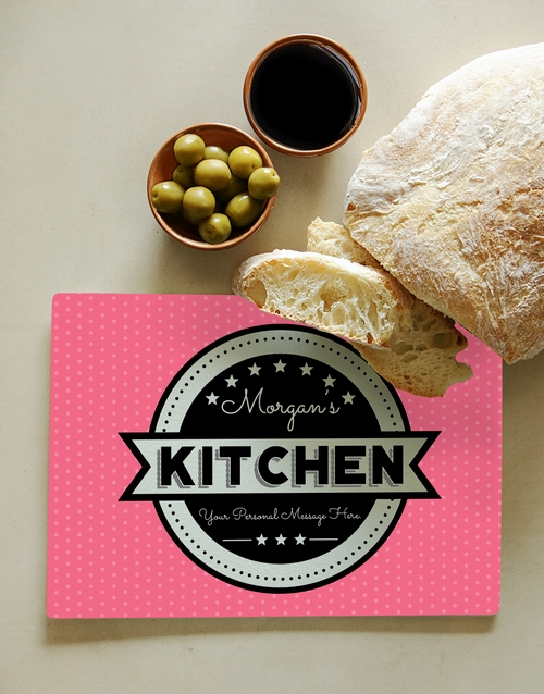 christmas: Personalised Kitchen Pink Glass Chopping Board!