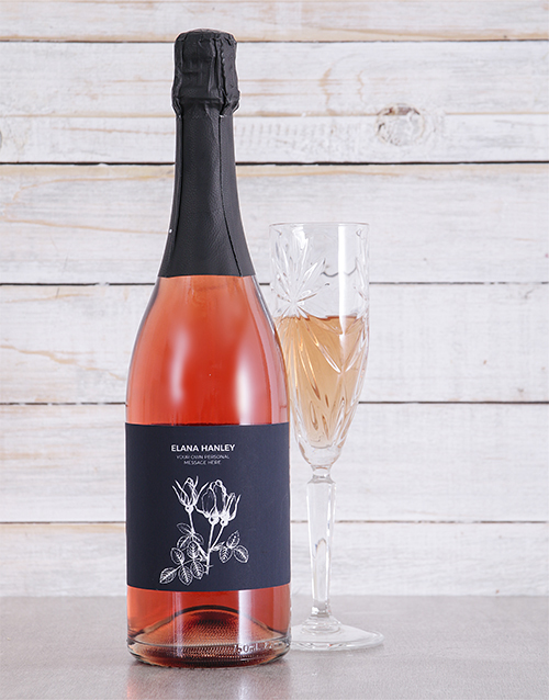 fine-alcohol: Personalised White Flower Sparkling Rose!