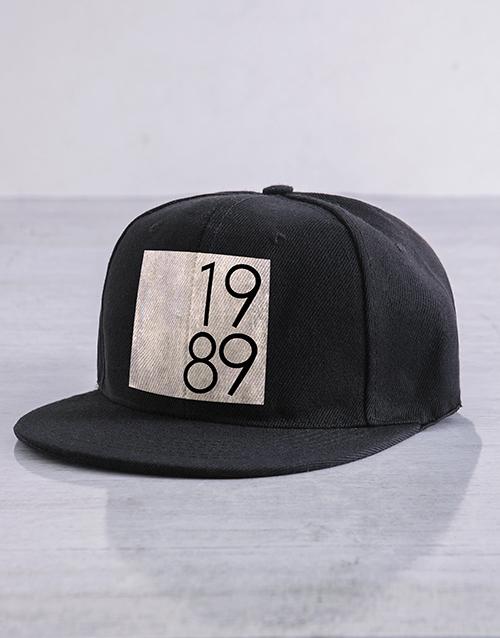 clothing: Personalised Black Grey Year Block Peak Cap!