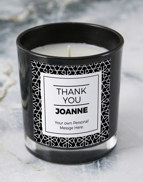 personalised: Personalised Black Thank You Candle!