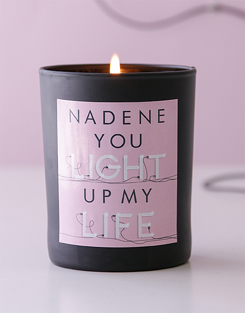personalised: Personalised Black Light Up My Life Candle!