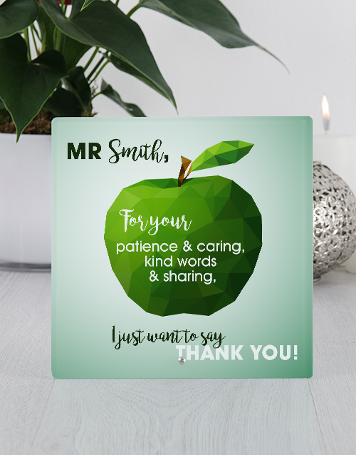 teachers-day: Personalised Thank You Apple Glass Tile!