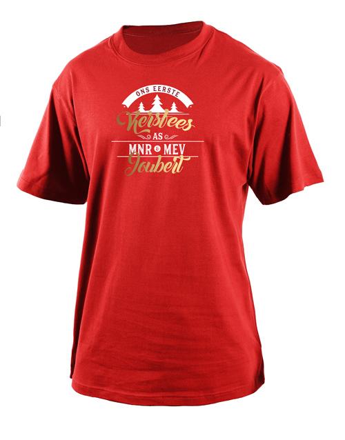 clothing: Personalised Eerste Kersfees Mens T Shirt!