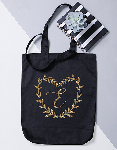 gifts: Personalised Initial Heart Wreath Tote Bag!