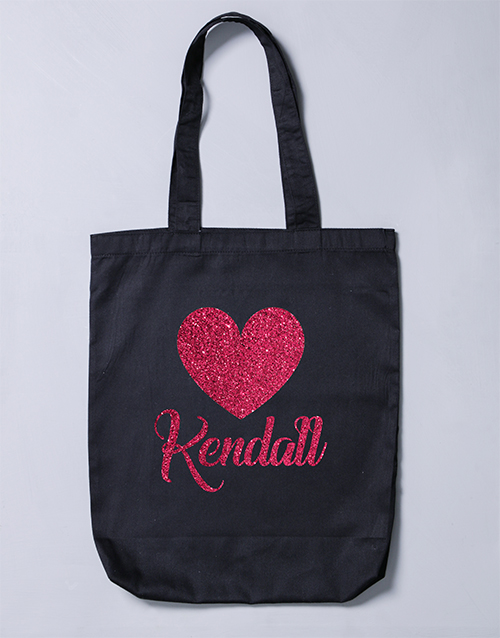 christmas: Personalised Glitter Heart Tote Bag!