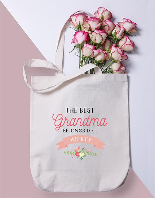 grandparents-day: Personalised Best Grandma Tote Bag!