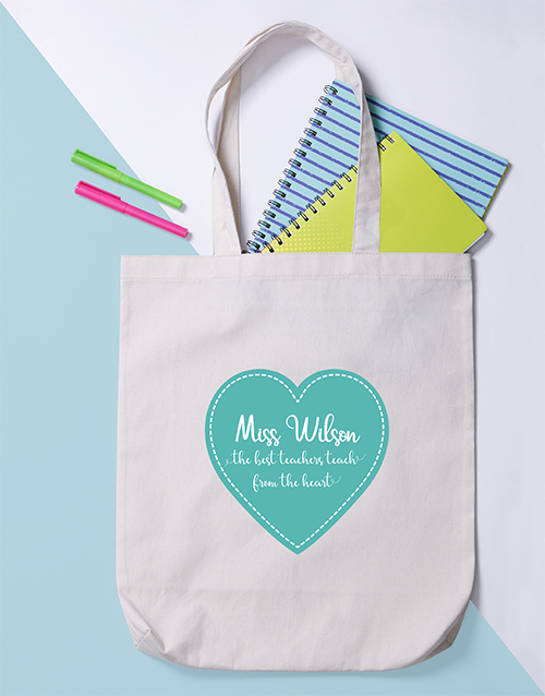 personalised: Personalised Teacher From Heart Tote Bag!