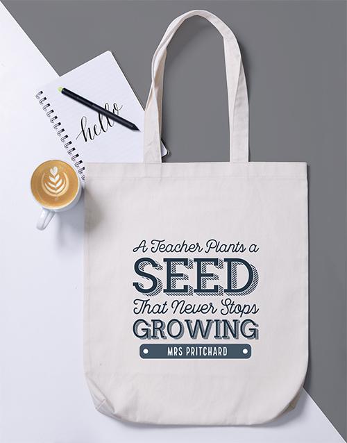 personalised: Personalised Teacher Plants a Seed Tote Bag!