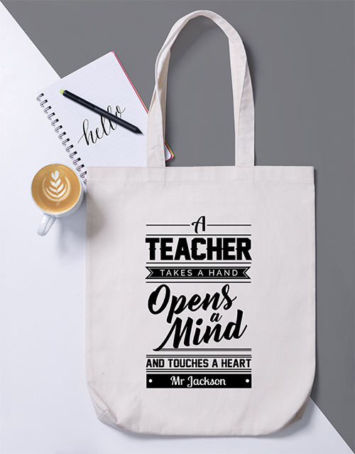 apparel: Personalised Teacher Opens Mind Tote Bag!
