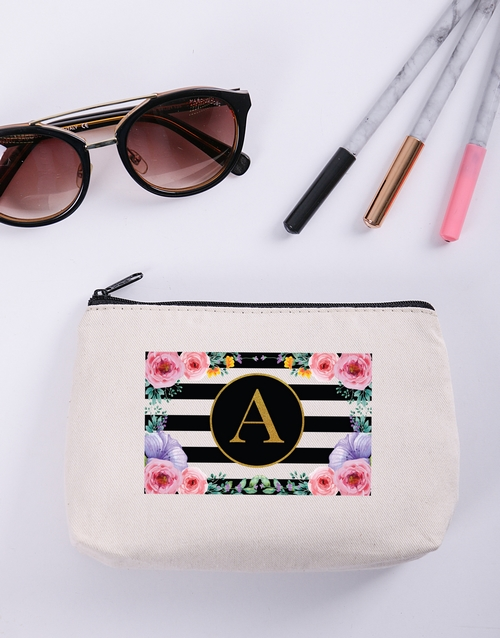 christmas: Personalised Floral Striped Cosmetic Bag!