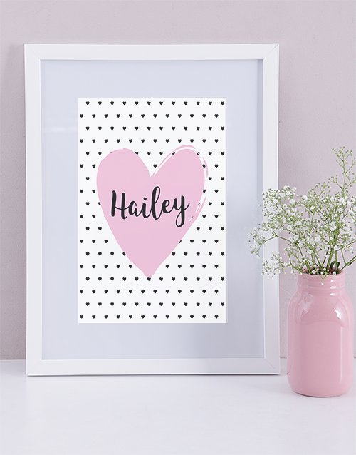 baby: Personalised Framed Heart Print!