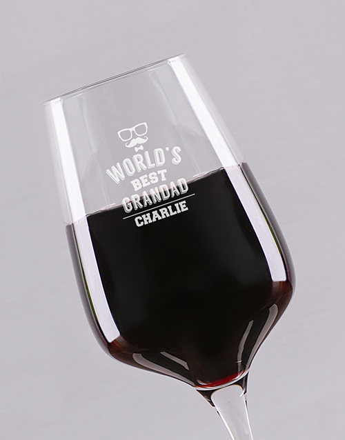 fathers-day: Personalised Best Grandad Wine Glass!