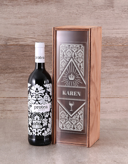 mothers-day: Personalised Protea Merlot Wine Crate!