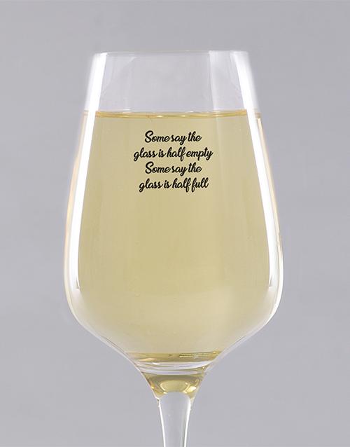 personalised: Personalised Glass Half Full Wine Glass!