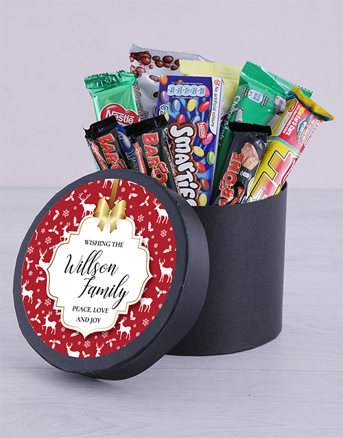gifts: Personalised Peace Love Chocolate Hat Box!
