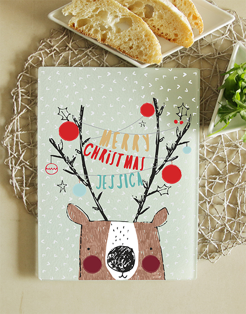 christmas: Personalised Christmas Glass Chopping Board!