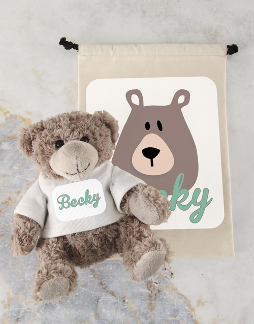 friendship: Personalised Teddy and Drawstring Bag!