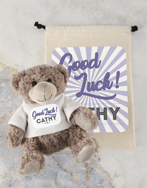 good-luck: Personalised Good Luck Teddy and Drawstring Bag!