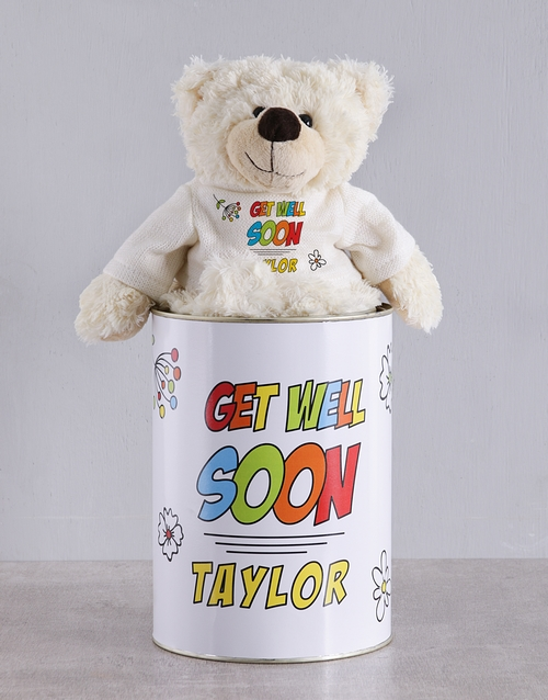 get-well: Personalised Speedy Recovery Teddy Tin!