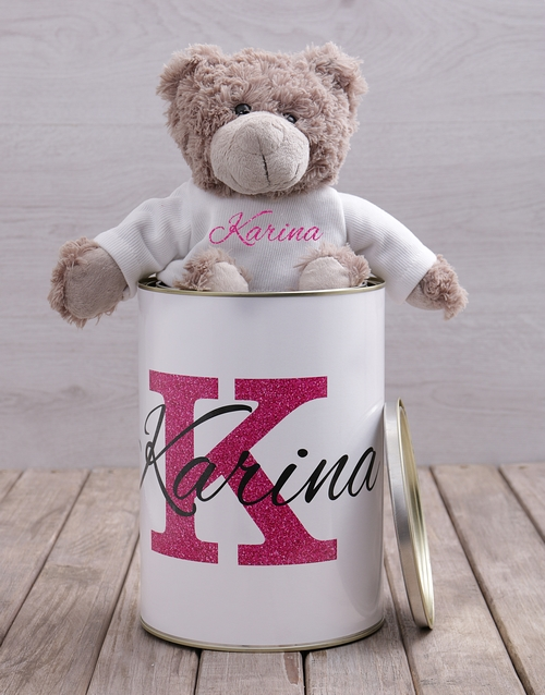friendship: Personalised Name Teddy Tin!