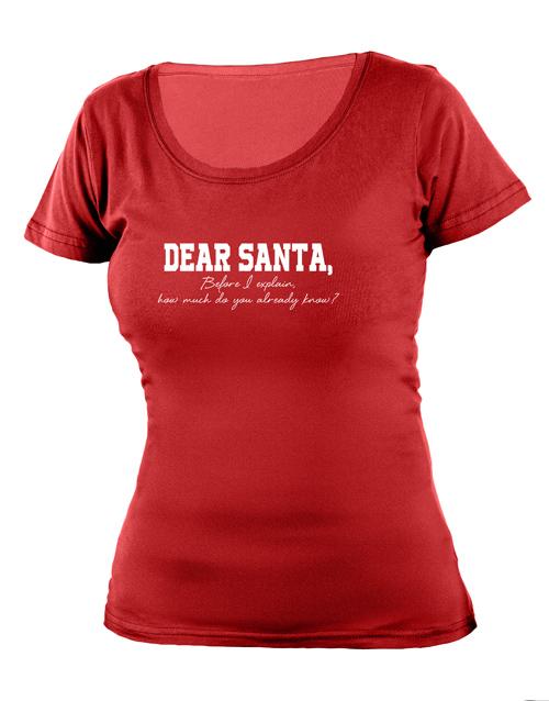 clothing: Personalised Dear Santa Ladies T Shirt!