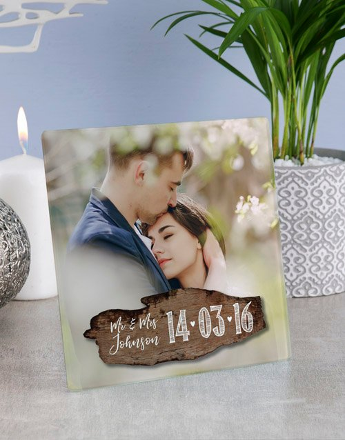 anniversary: Personalised Couples Glass Tile!