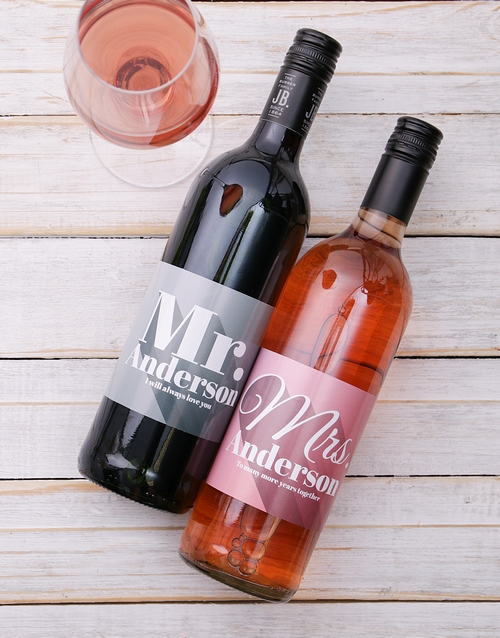 valentines-day: Mr and Mrs Personalised Wine Duo!