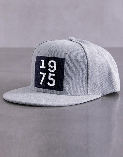 activewear: Personalised Grey Year Block Peak Cap!