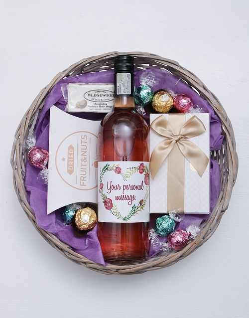 grandparents-day: Personalised Floral Heart Gourmet Basket!