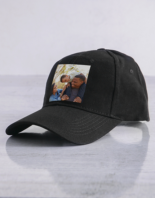 fathers-day: Personalised Black Photo Peak Cap!