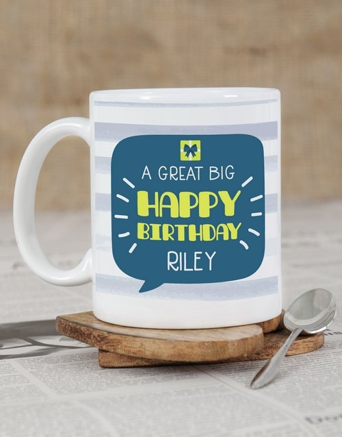 birthday: Personalised Stripy Birthday Mug!