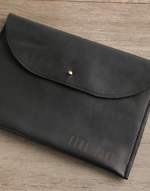 personalised: Personalised Black Leather Envelope Tablet Cover!
