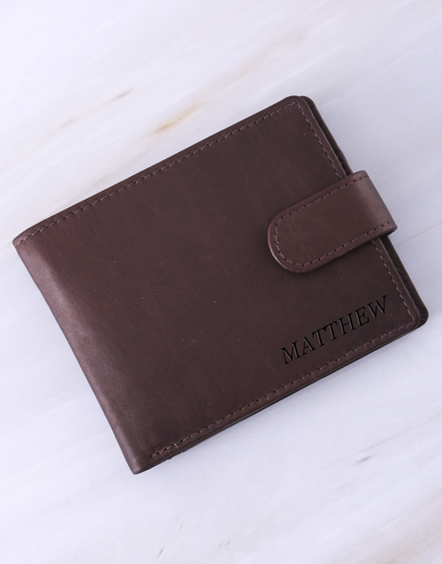 christmas: Personalised Busby Pygmy Brown Billfold Wallet!