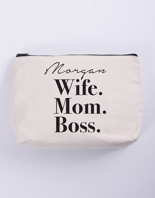 gifts: Personalised Wife Mom Boss Cosmetic Bag!