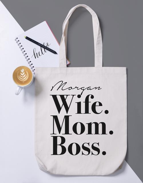 apparel: Personalised Wife Mom Boss Tote Bag!