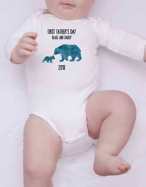 fathers-day: Personalised First Fathers Day Boy Onesie!