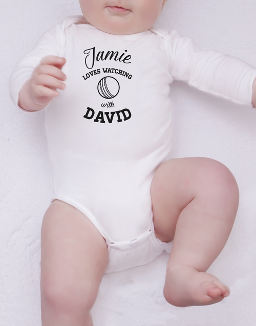 personalised: Personalised Cricket With Daddy Onesie!