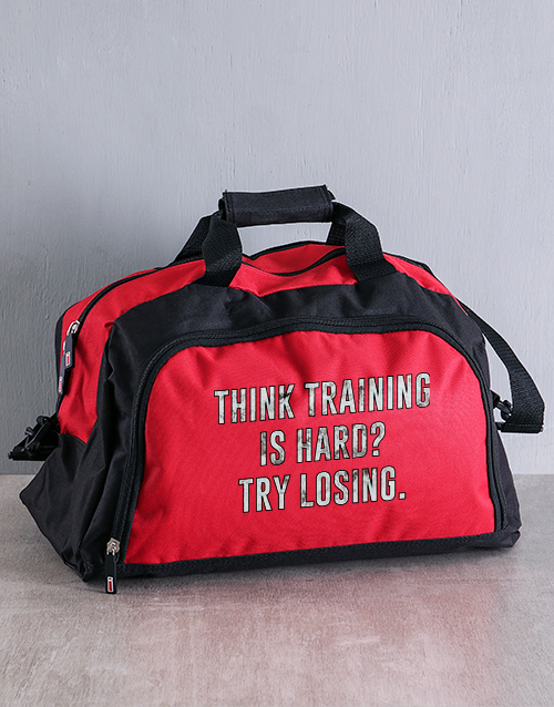 fathers-day: Personalised Training Hard Gym Bag!