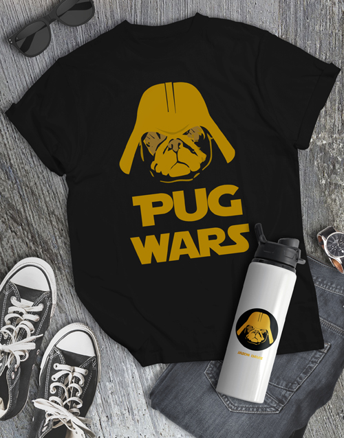 clothing: Personalised Pug Wars Water Bottle and Mens Shirt!
